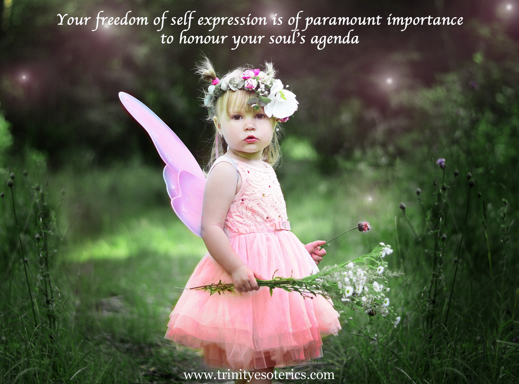 child dressed like fairy in meadow trinity esoterics