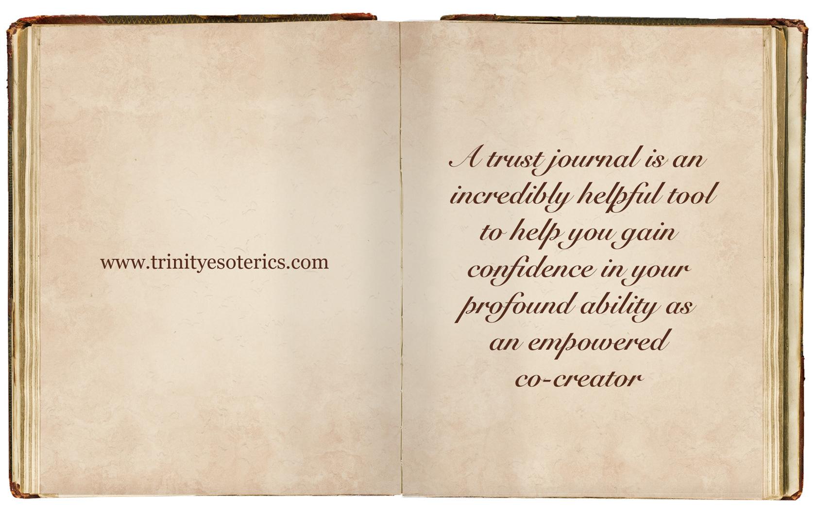 beautiful journal with script trinity esoterics
