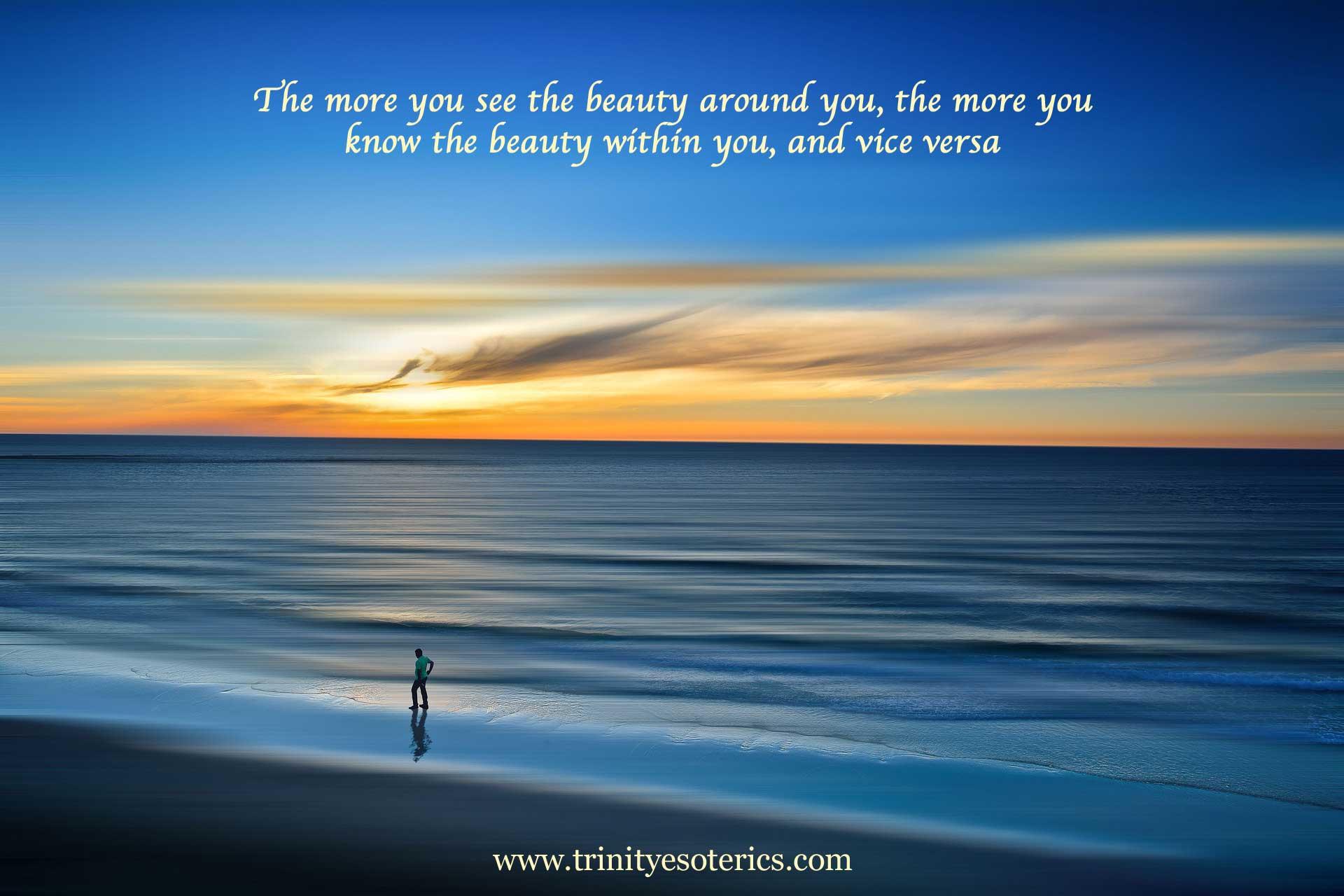 man reflected on beautiful beach trinity esoterics