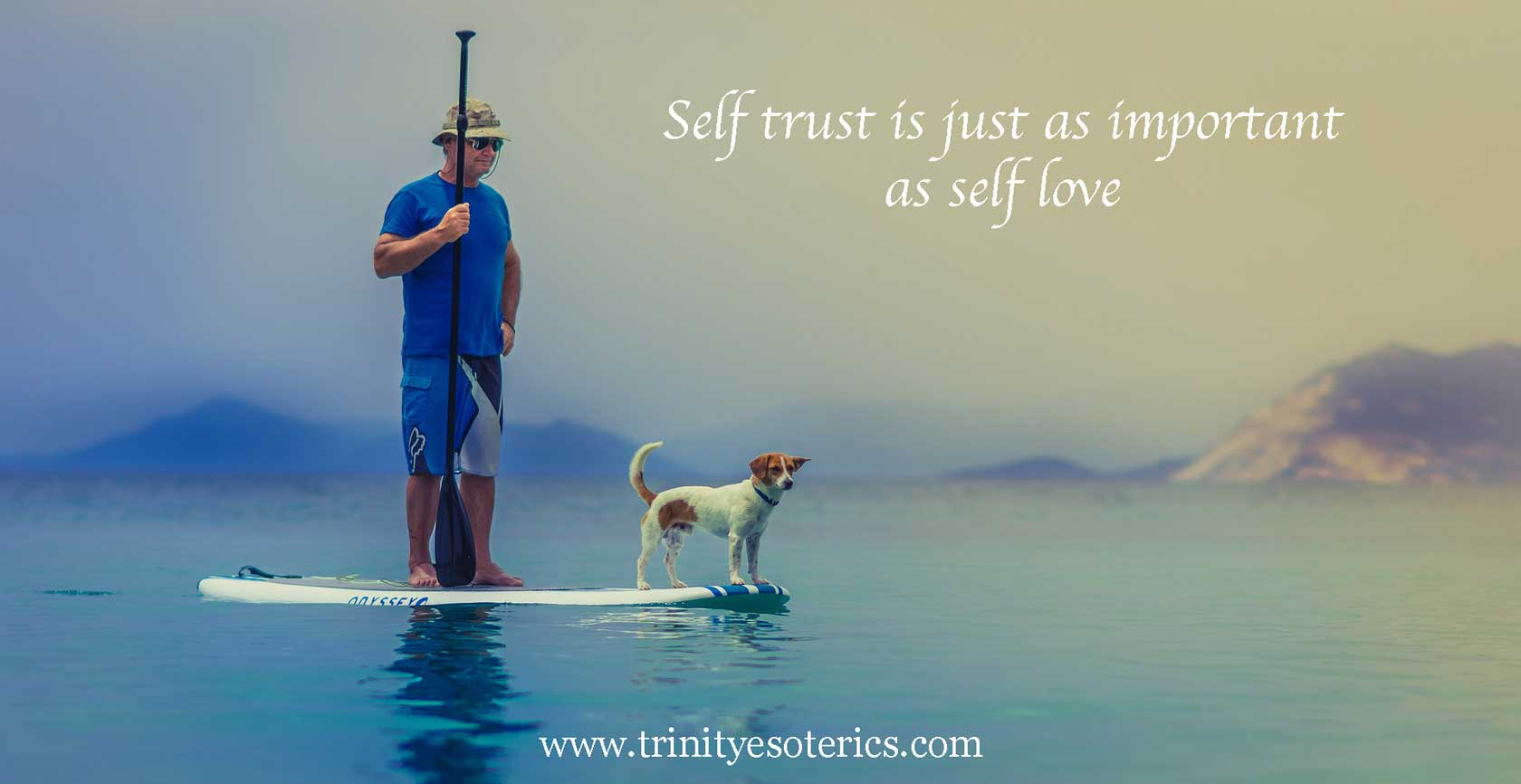 man on paddle board with dog trinity esoterics