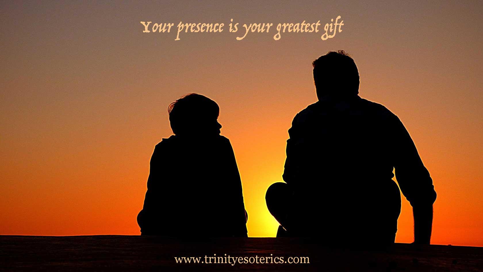 man and child talking at sunset trinity esoterics