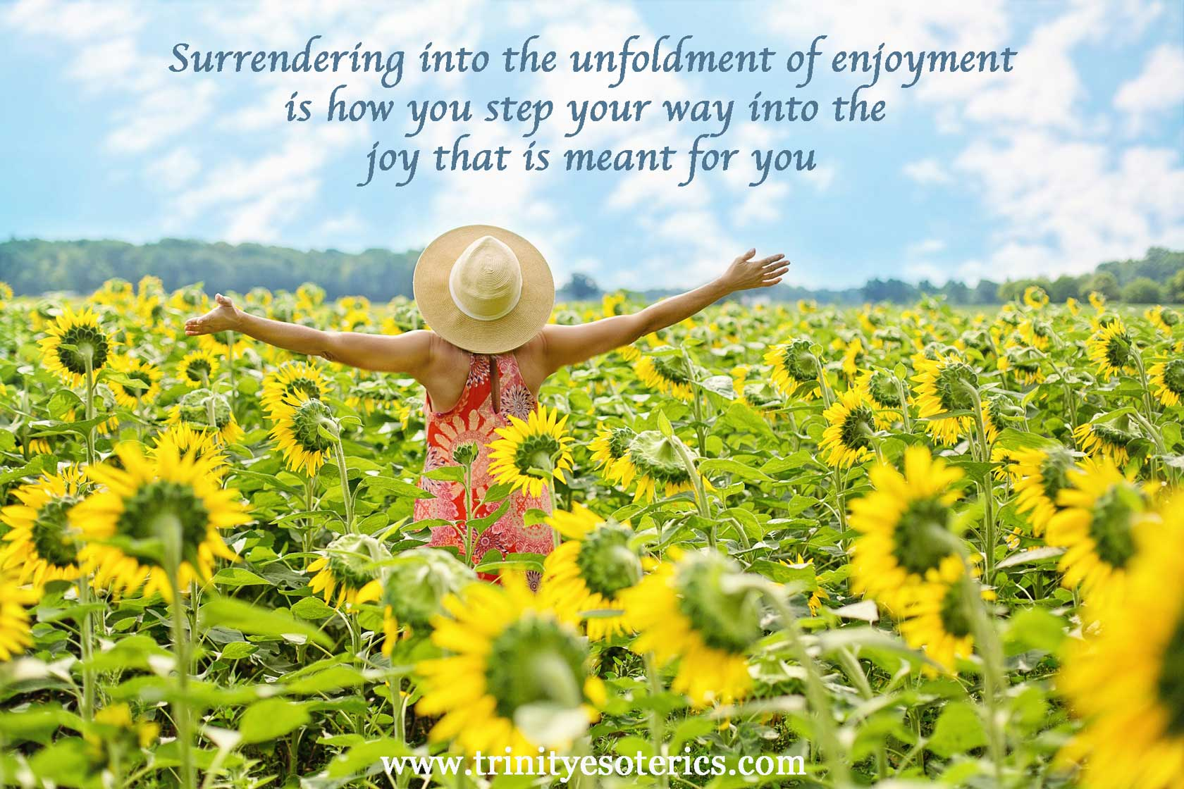 joyful woman in sunflower field trinity esoterics