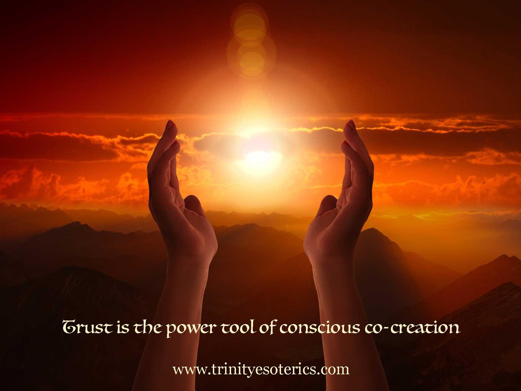 hands raised to light in sky trinity esoterics
