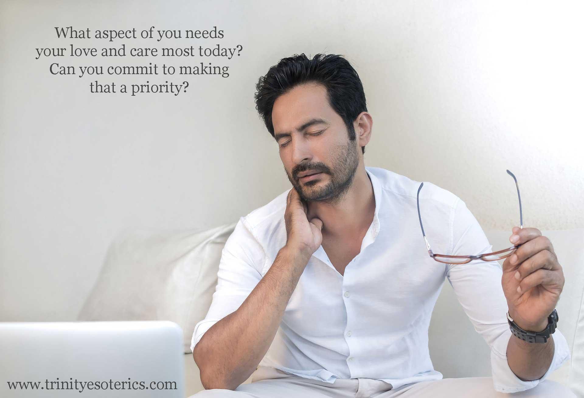 stressed man at computer trinity esoterics