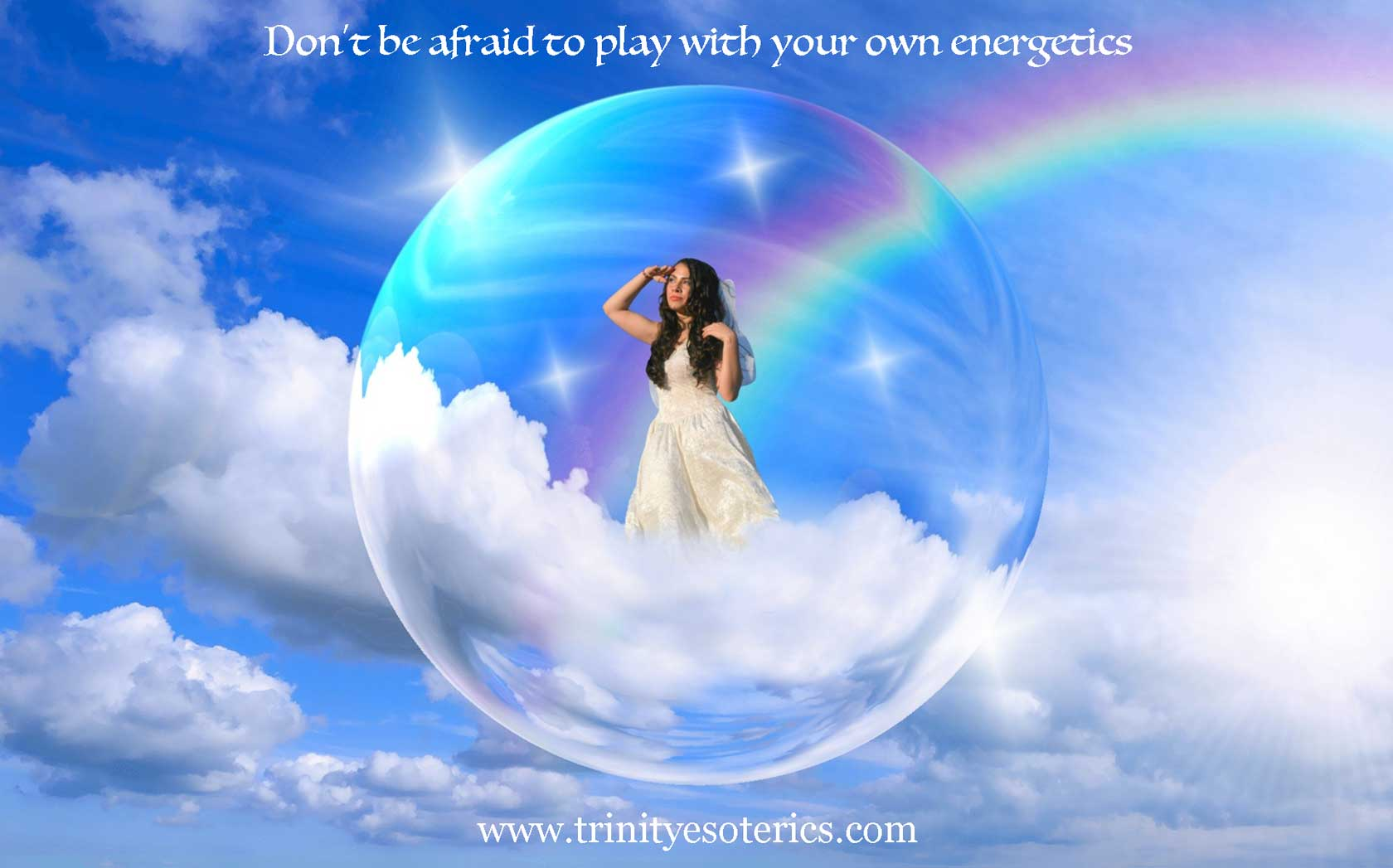 girl in clouds with rainbow trinity esoterics