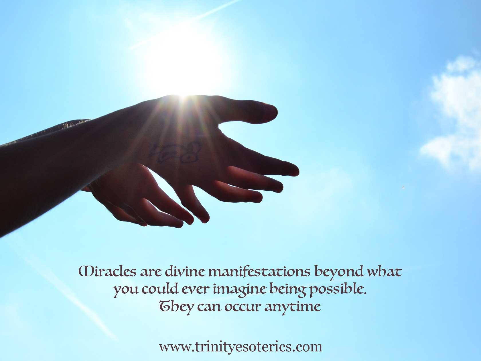 hands open to receive trinity esoterics