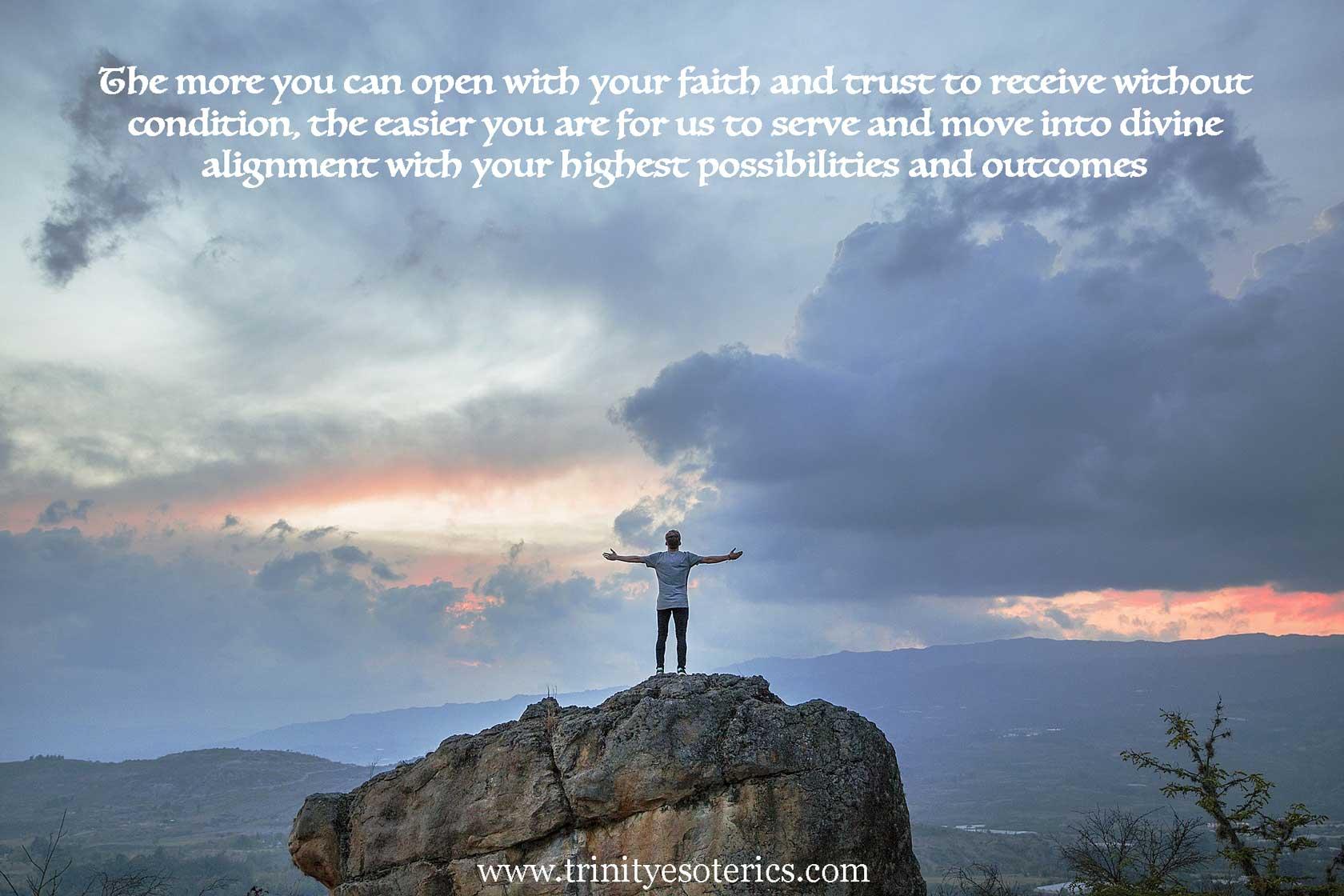 open armed man on mountain top trinity esoterics
