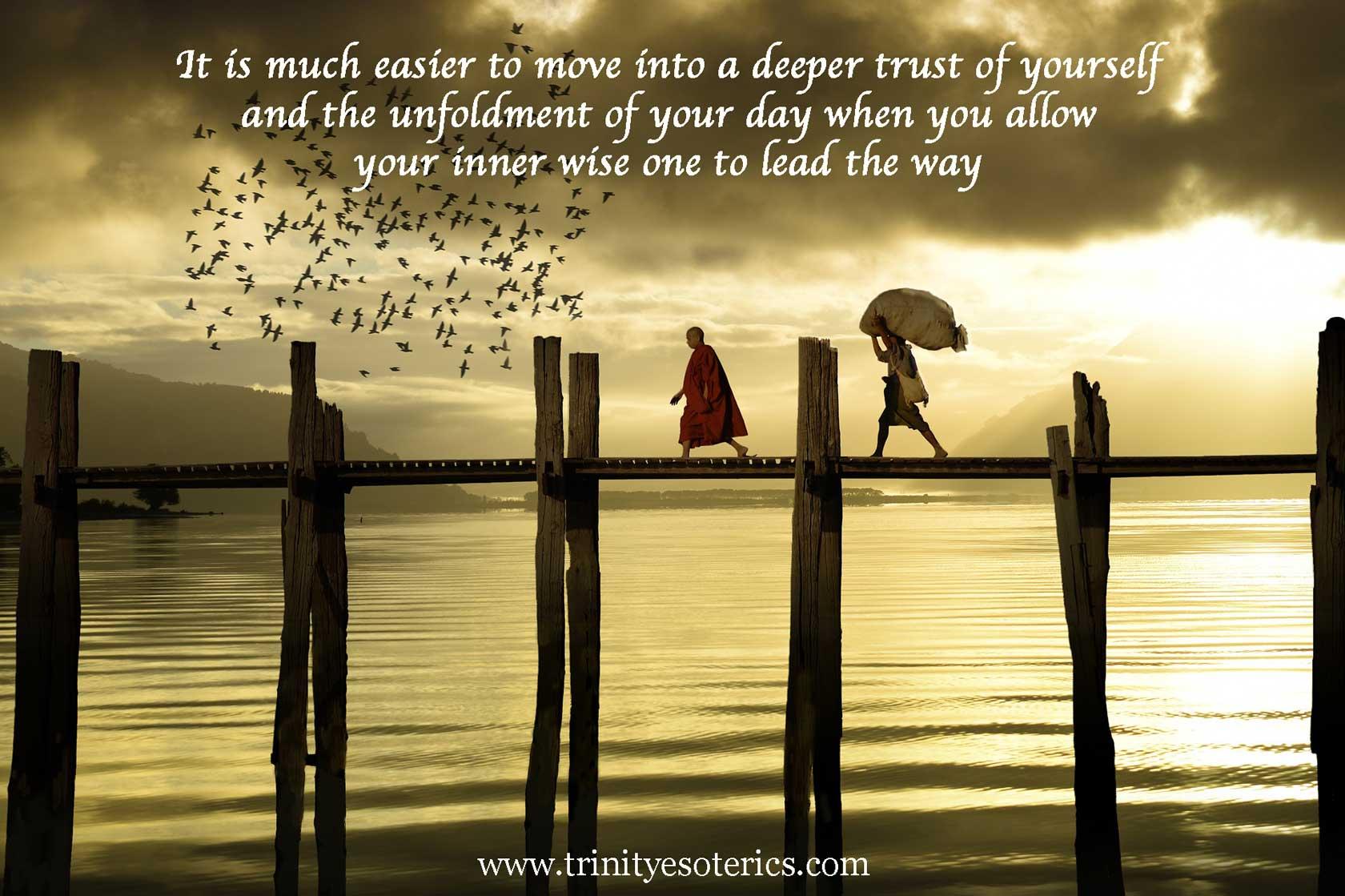monk leading person over bridge trinity esoterics