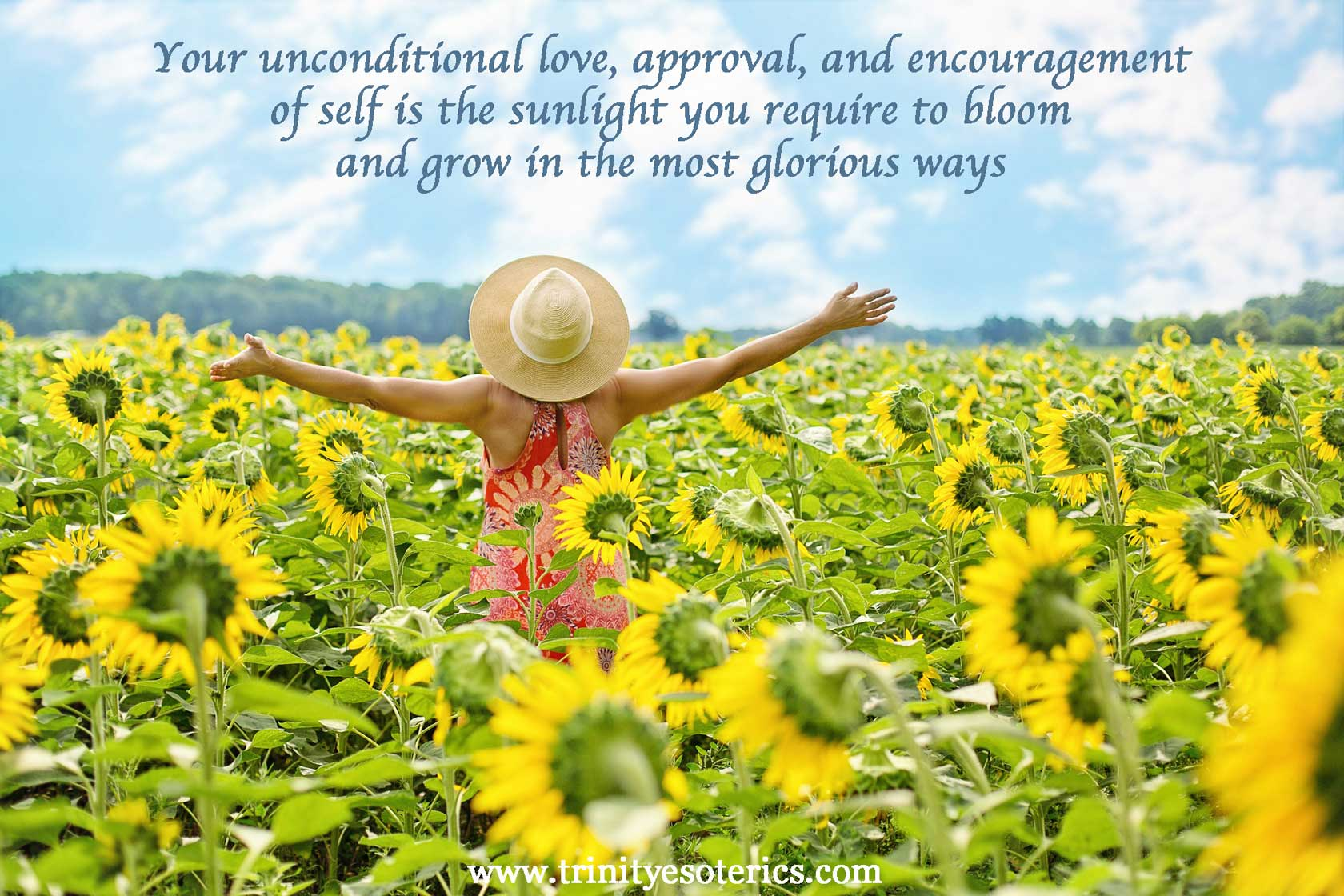 joyful woman with sunflowers trinity esoterics