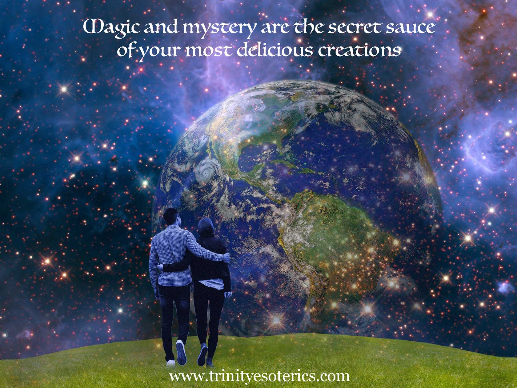 couple walking toward cosmos trinity esoterics