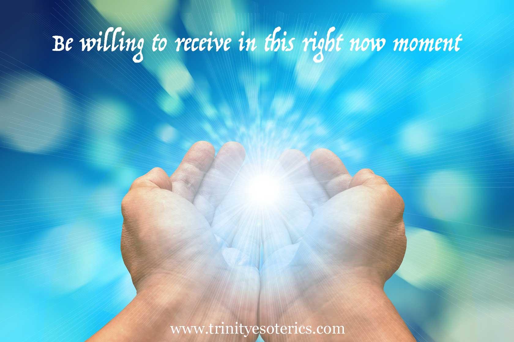 hands receiving trinity esoterics