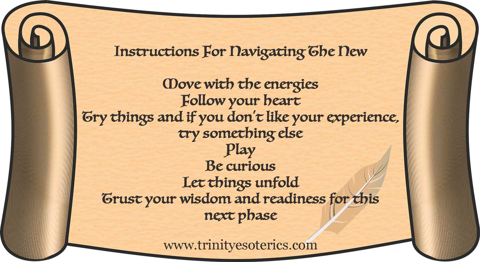 scroll with instructions trinity esoterics