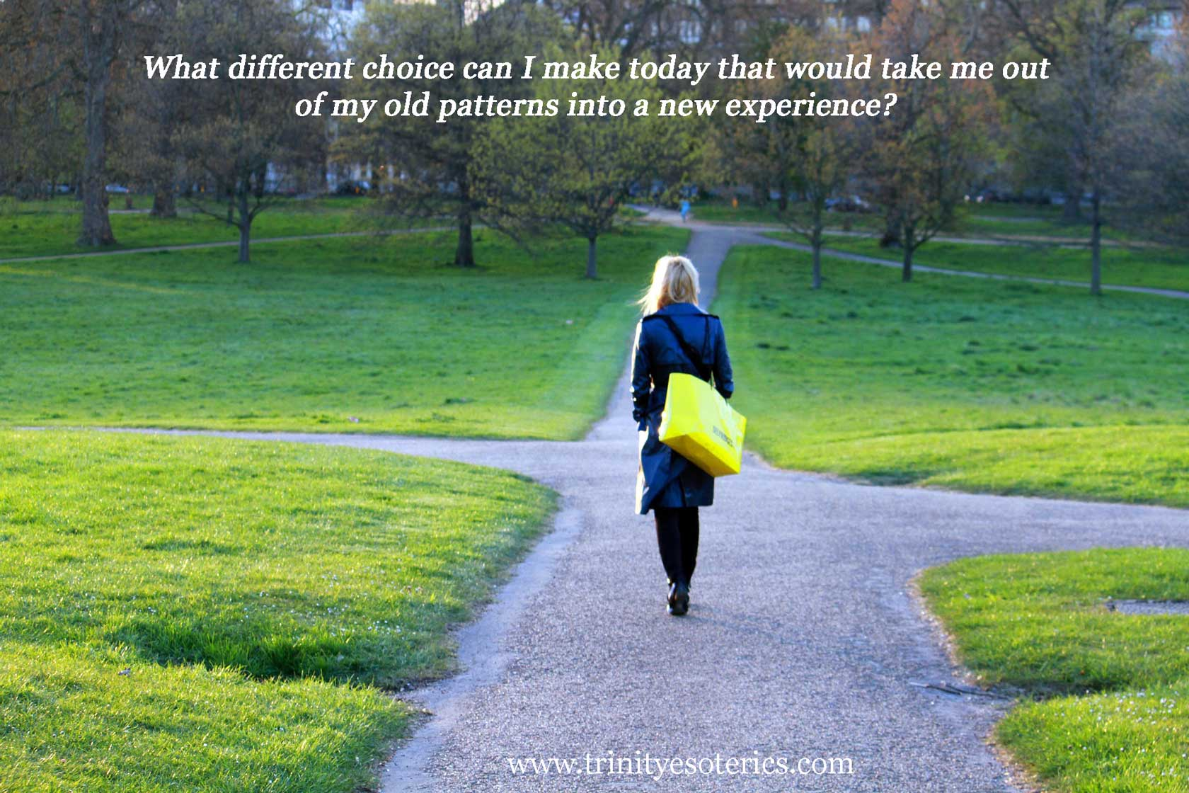 woman on path with options trinity esoterics
