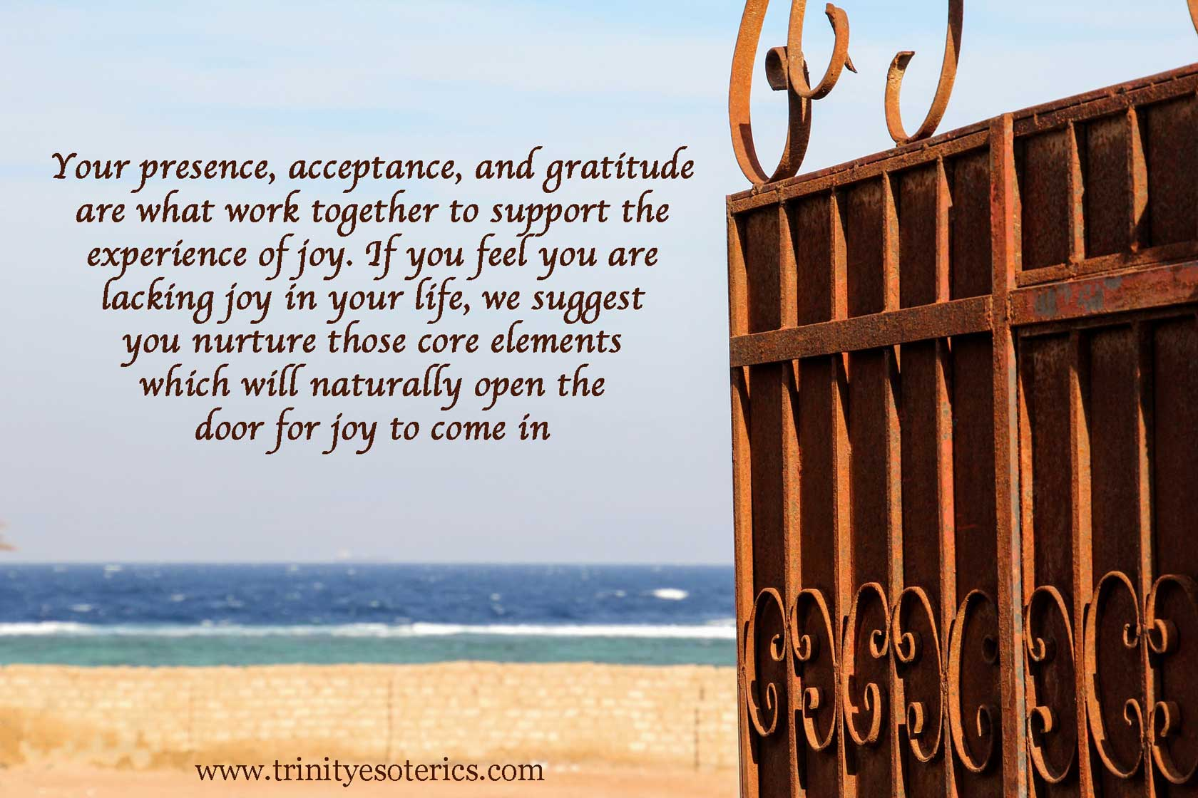 open gate onto beach trinity esoterics