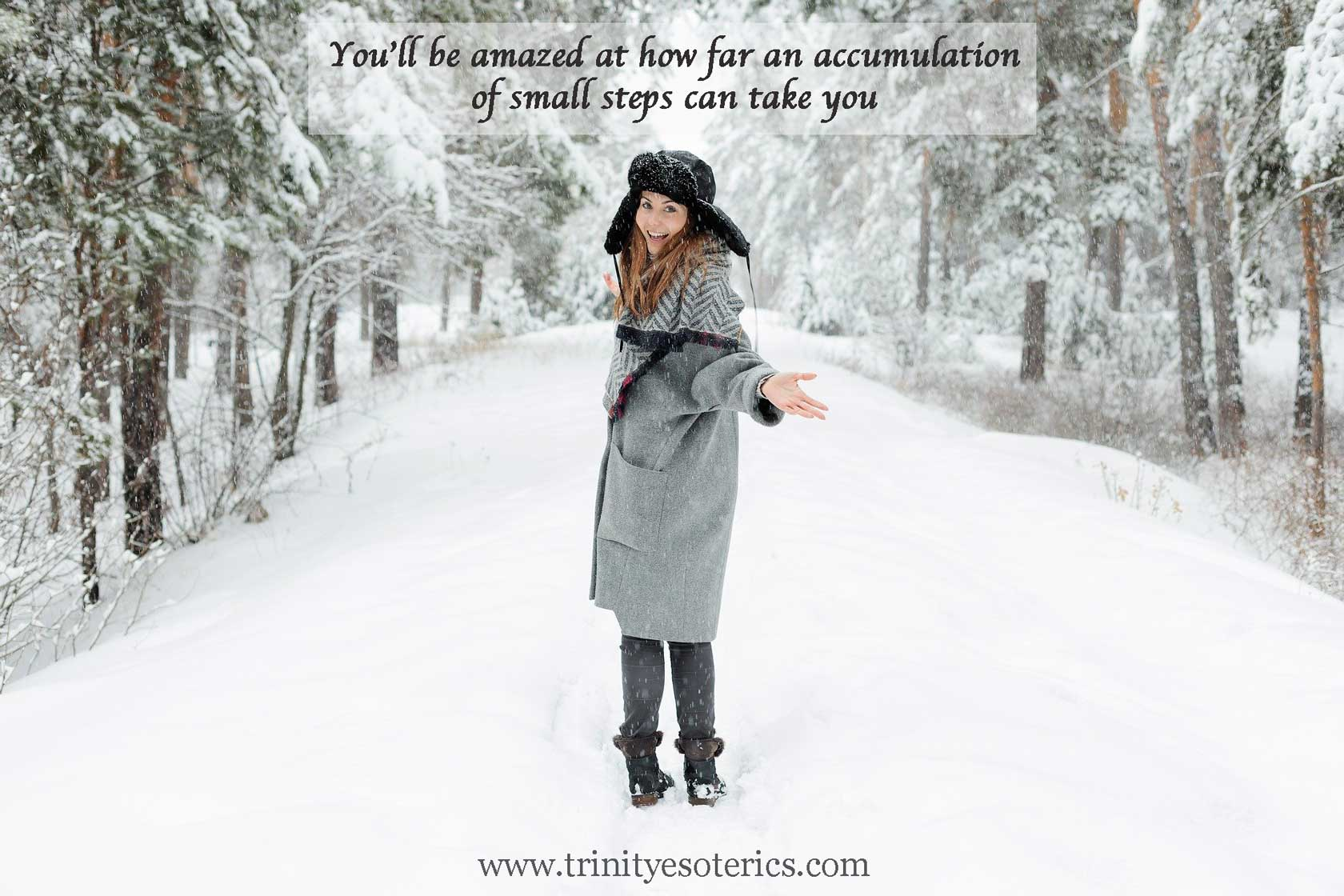 woman on snowy path trinity esoterics