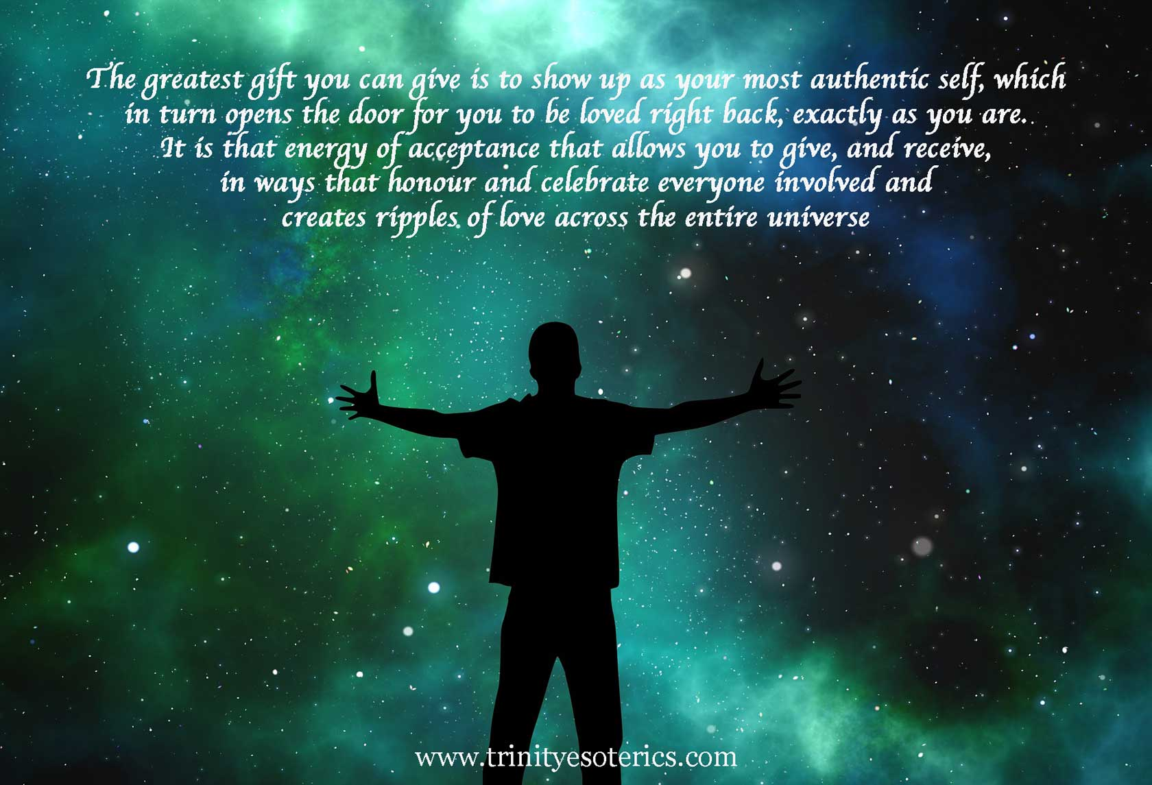 man giving/receiving from universe trinity esoterics