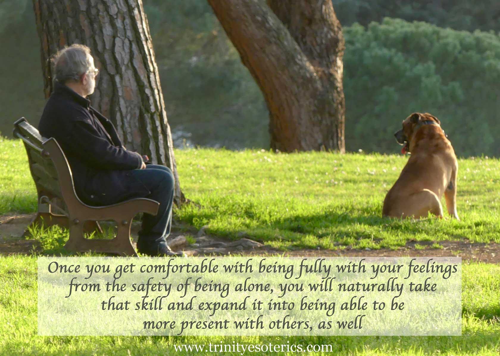 man on bench with dog trinity esoterics