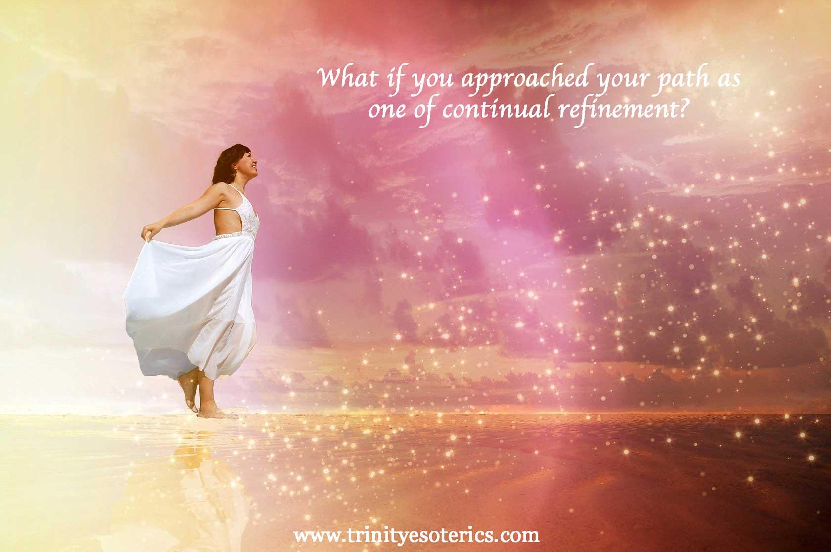 woman moving forward in light trinity esoterics