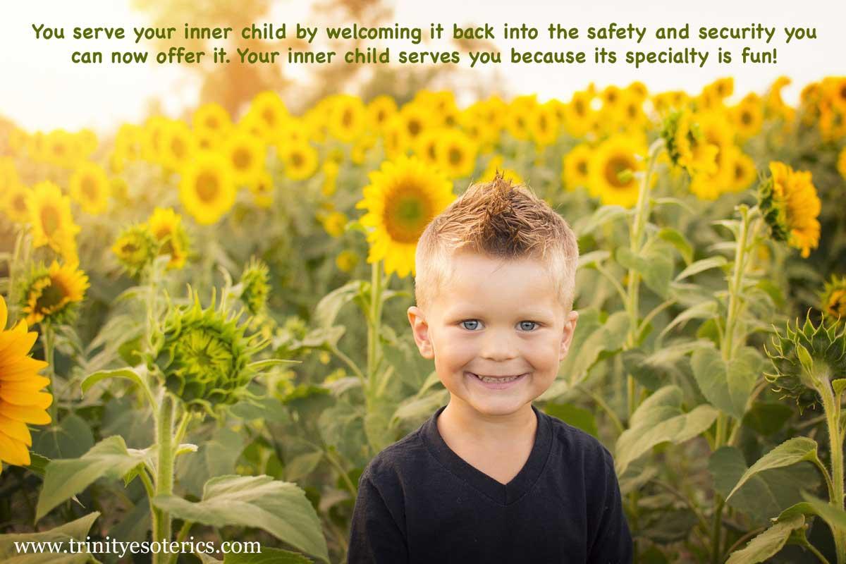 mischievous child in sunflowers