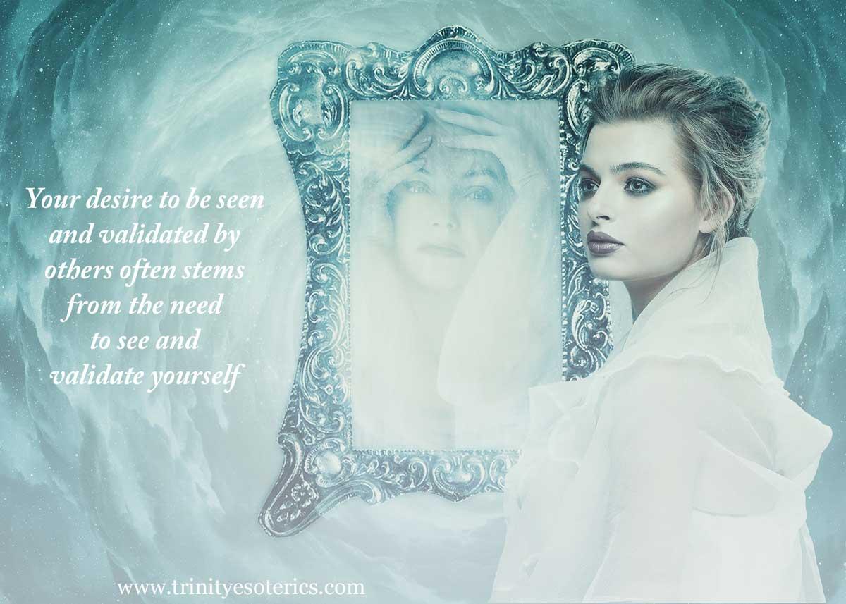 woman looking away from mirror trinity esoterics