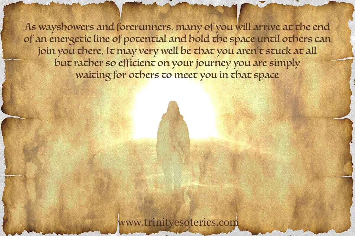 person arriving in light trinity esoterics