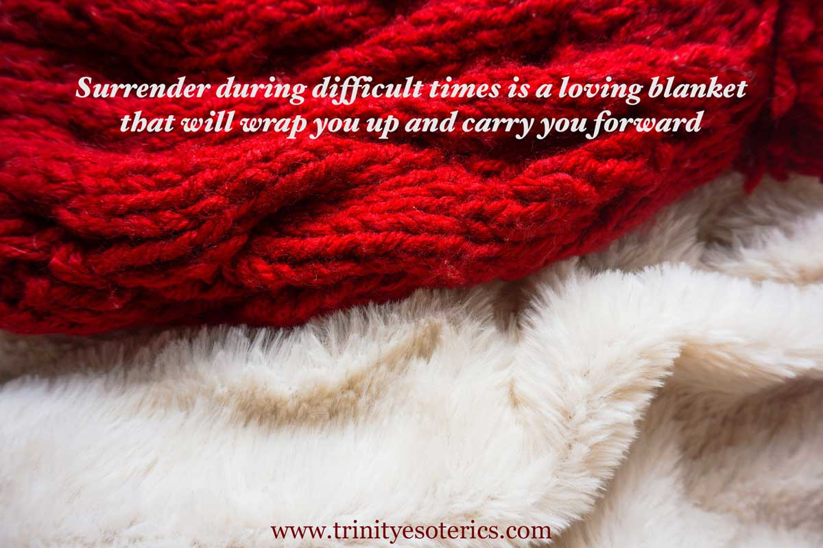 red knit and white fuzzy blanket trinity esoterics